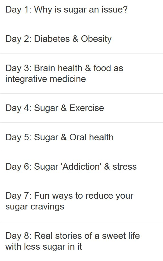 Sugar Awareness Week Program